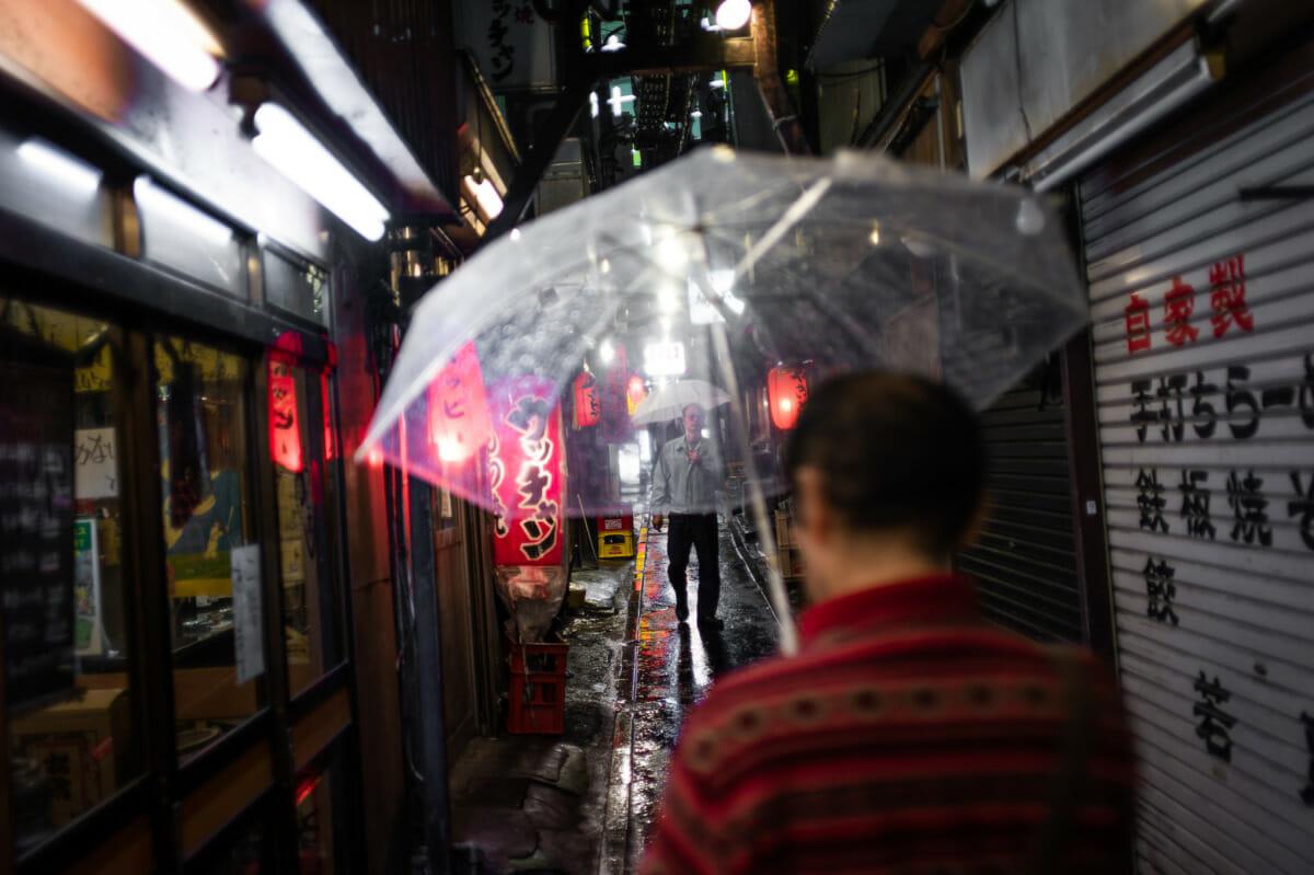Shinjuku piss alley in the rain