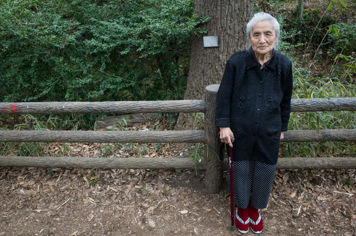 portrait of a 95-year-old Japanese lady out walking