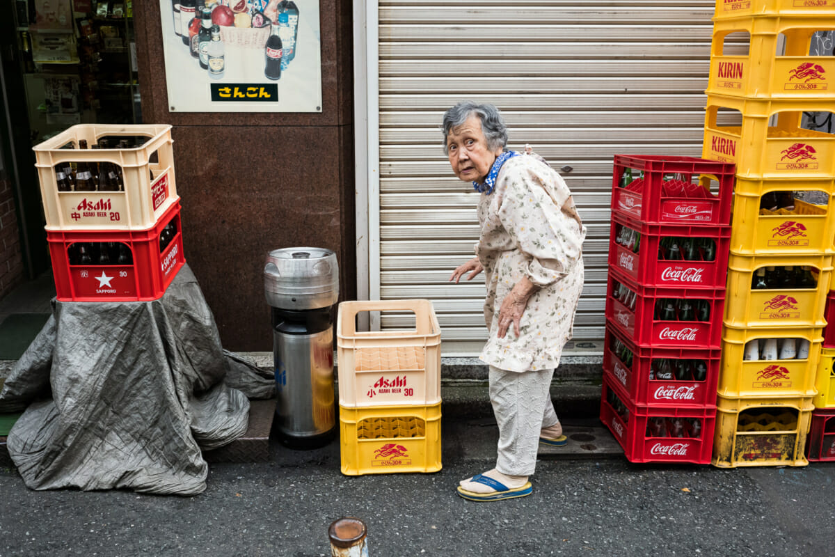 a surprised looking old Japanese lady