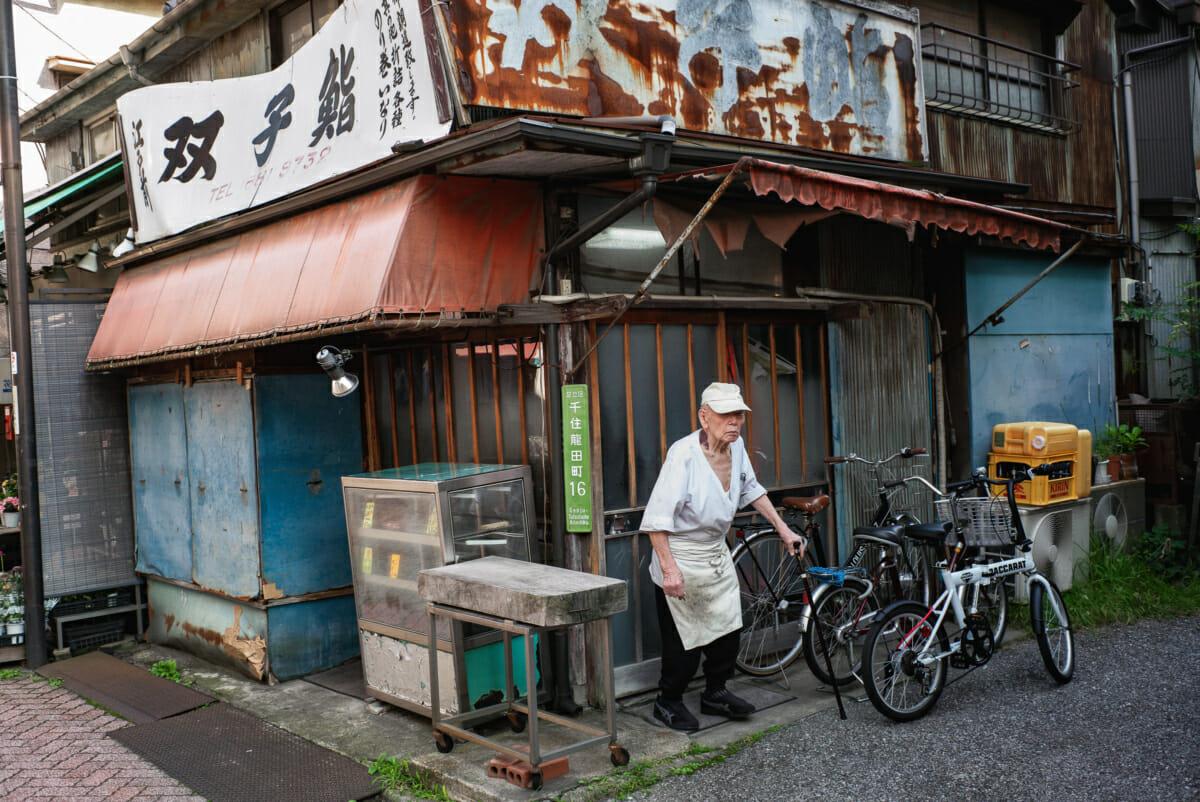 a ramshackle old Tokyo sushi shop