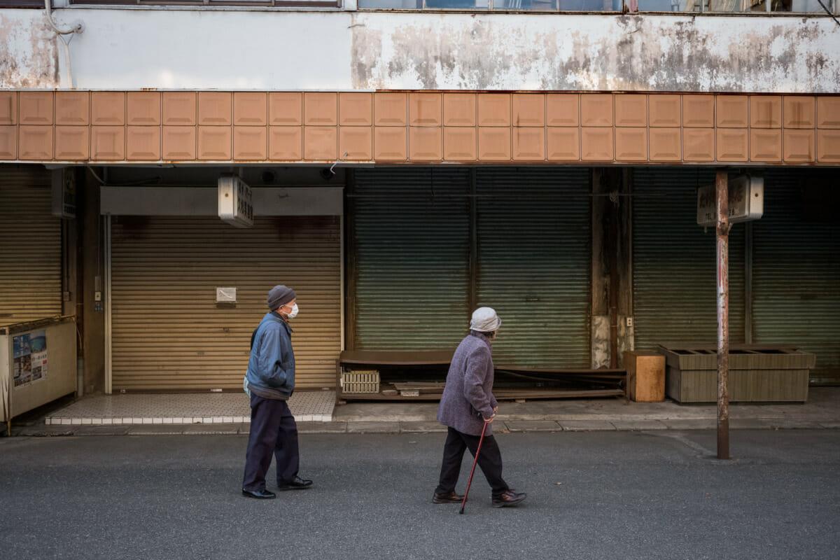 a shuttered Tokyo shopping street