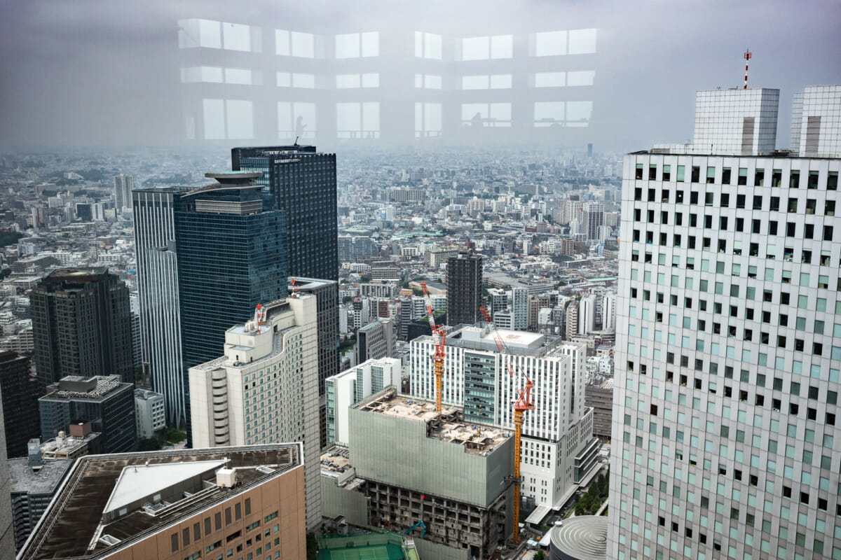 solitary reflections high above Tokyo