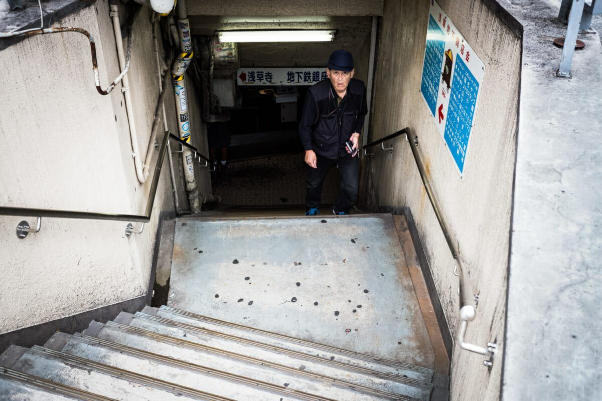 tthe grittiest subway entrance in tokyo