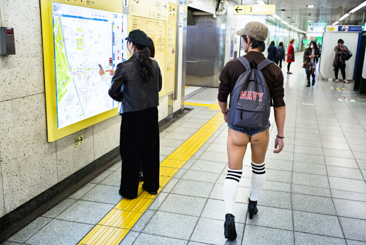 A man wearing the shortest of very short shorts in Tokyo