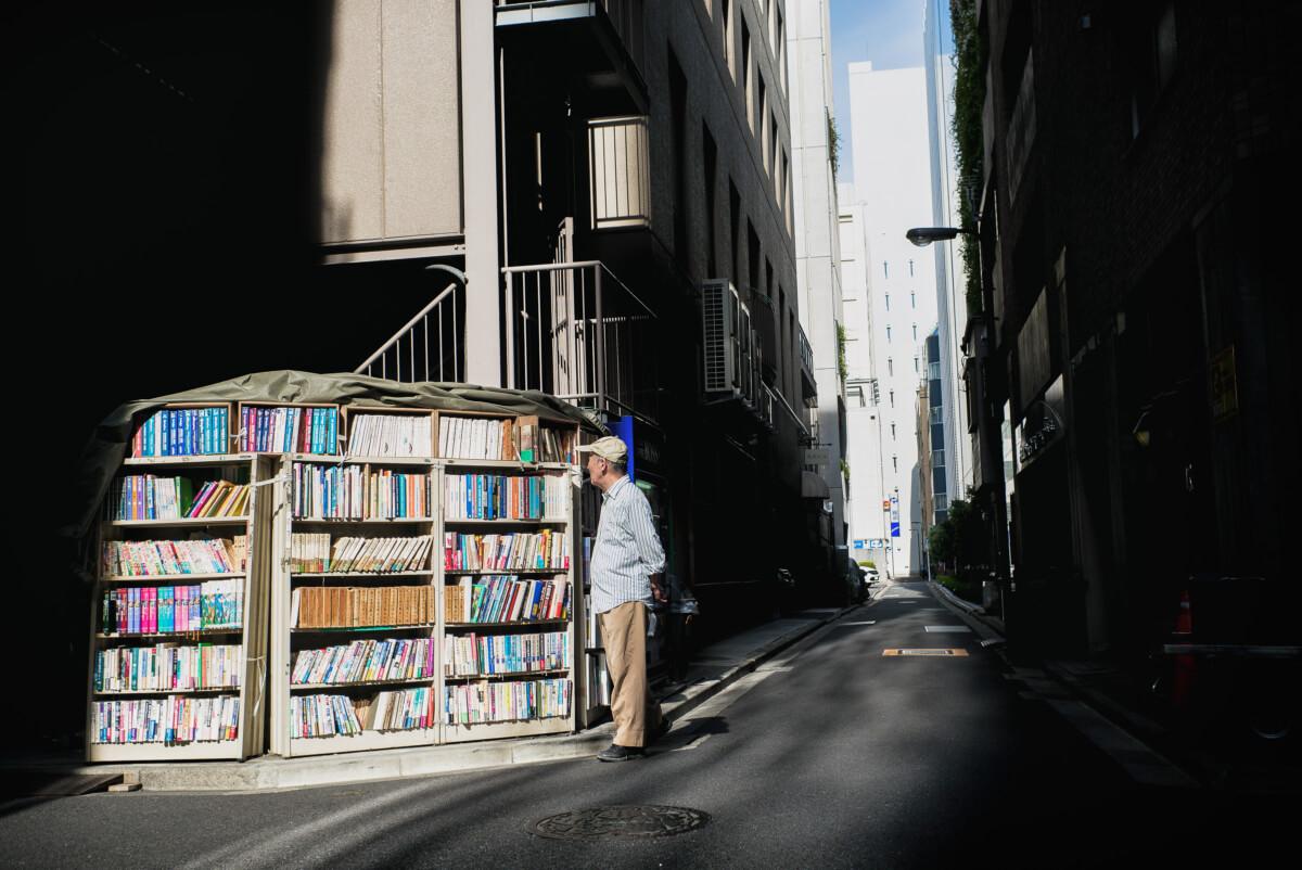 A beautifully lit outdoor Tokyo bookshop