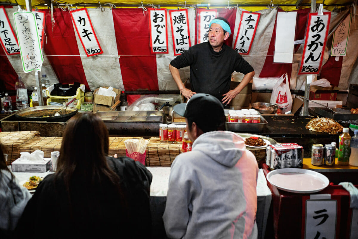a street food stall and vendor in Tokyo