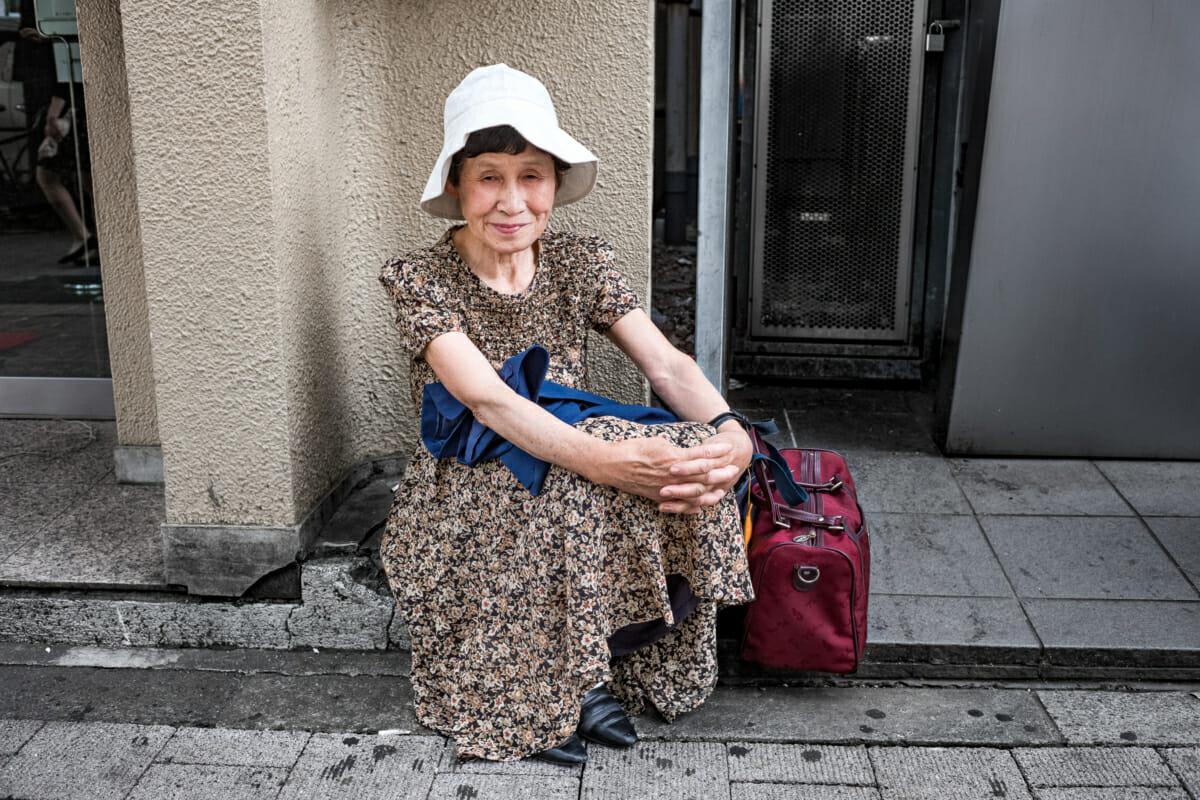 a Tokyo street side elderly lady portrait