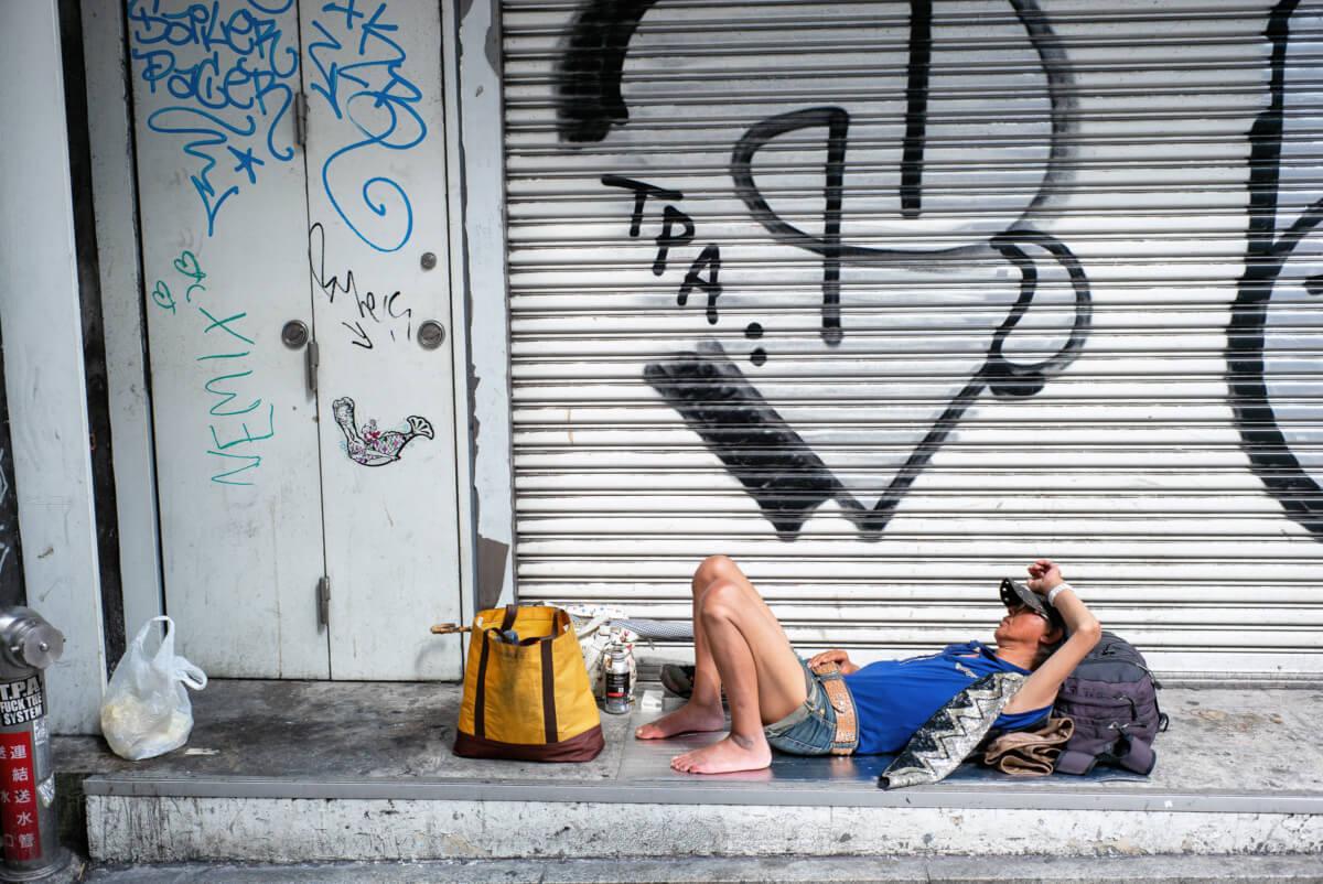 an urban Tokyo sunbather