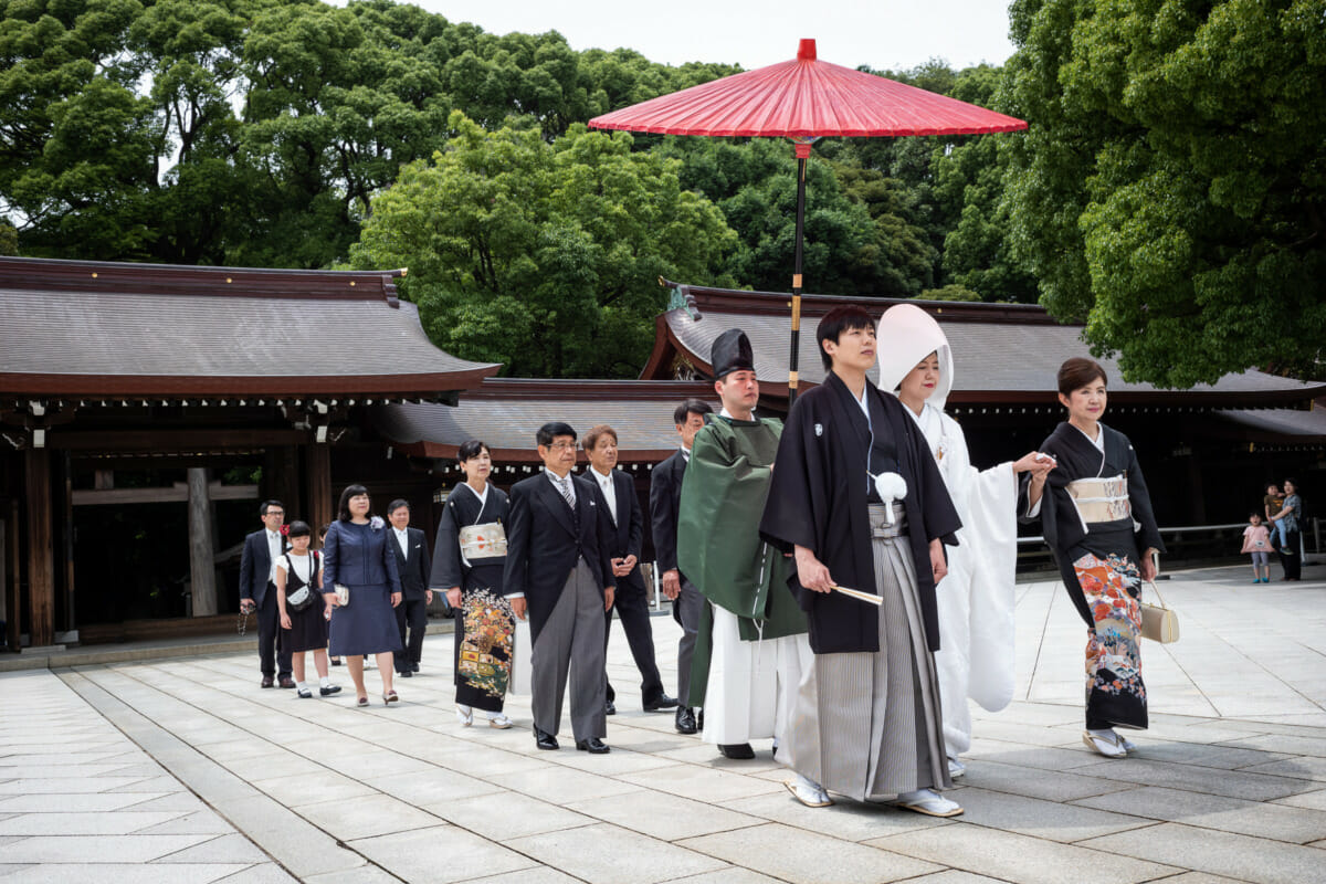a tourist-free meiji shrine wedding
