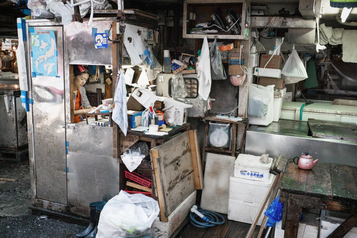 tiny and miserable tsukiji fish market office